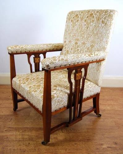 Edwardian Art Nouveau Inlaid Armchair (1 of 8)