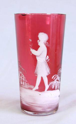 Antique Cranberry Glass Mary Gregory Tot (1 of 7)