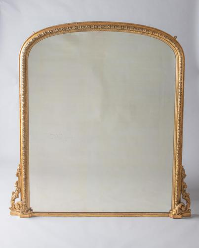 Very Large English Victorian Gilt Archtop Overmantle Mirror (1 of 8)