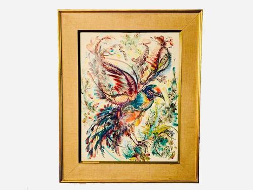 A Stunning Original Gabrielle Bouffay Watercolour Painting L'Oiseau Bleu 1968 (1 of 7)
