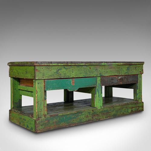 Large Antique Industrial Mill Table, English, Pine, Kitchen Island, Victorian (1 of 12)