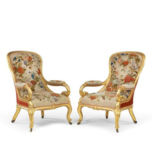 Pair of High Victorian Giltwood & Needlework Armchairs by Gillows (1 of 15)