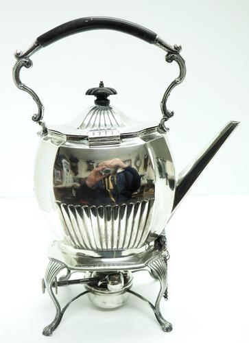 English Victorian Antique Solid Silver Spirit Kettle with Original Silver Burner c.1900 (1 of 9)