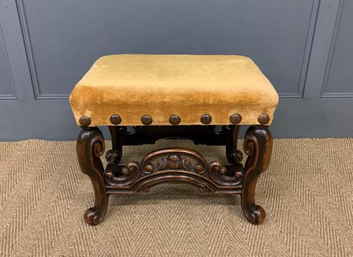 Carolean Style Upholstered Walnut Stool (1 of 6)