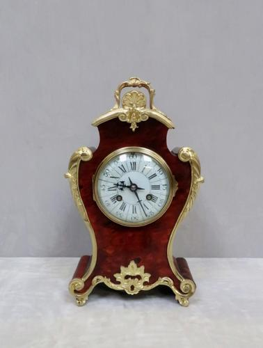 French Louis XV Style Tortoise Shell Mantel Clock by Samuel Marti (1 of 7)
