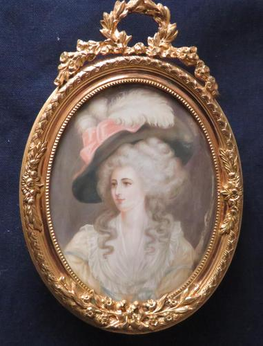Miniature Portrait Duchess of Devonshire Ormolu Easel Backed Frame (1 of 4)