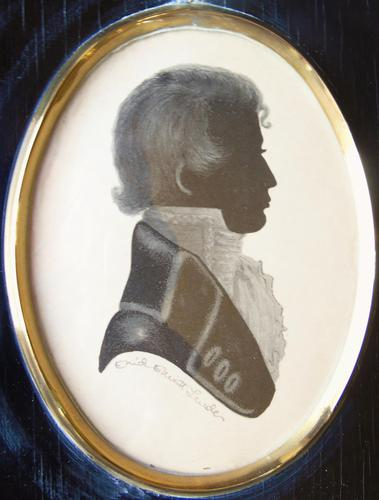 Georgian Silhouette Portrait Painting of Young Gentleman Signed (1 of 2)