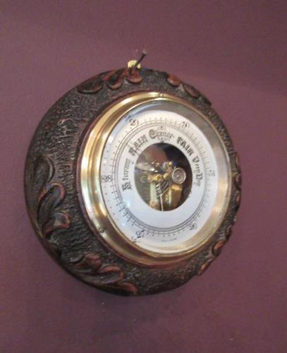Antique Carved Oak Visible Works Barometer (1 of 5)