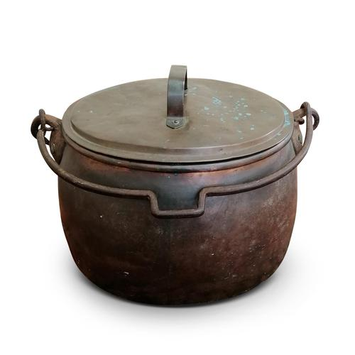 Large Antique Copper Couldron with Lid & Handle (1 of 7)