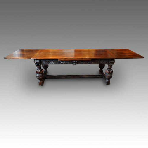 Antique Oak Large Draw-leaf Dining Table (1 of 9)
