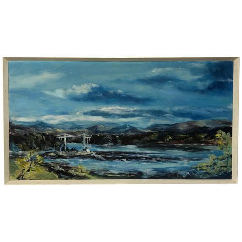 20th Century Oil Painting Wales Menai Bridge Church Straits Snowdonia Mountains (1 of 27)