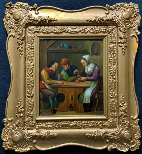 Early 19th Century Dutch School Drinking in a Tavern Oil on Panel Portrait Painting (1 of 11)
