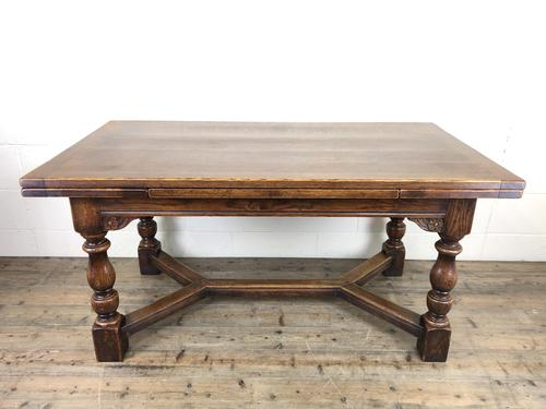 Extending Oak Draw Leaf Refectory Dining Table (1 of 17)