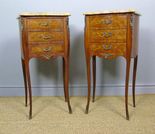 Pair of Antique French Bedside Cabinets Marble Top (1 of 6)
