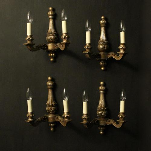 French Set of 4 Gilded Twin Arm Wall Lights (1 of 10)