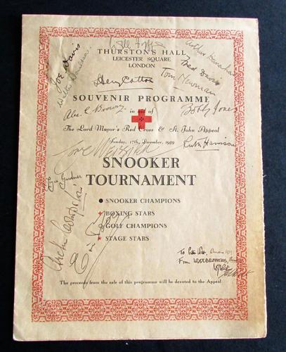 1939  Signed Snooker Tournament Souvenir Programme from Sunday 17th December 1939 & Signed by Numerous Sport Stars & Celebrities (1 of 4)