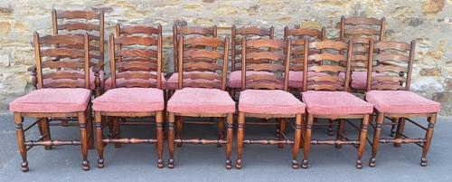 Set of 12 Oak Ladder Back Dining Chairs - Royal Oak Furniture (1 of 15)