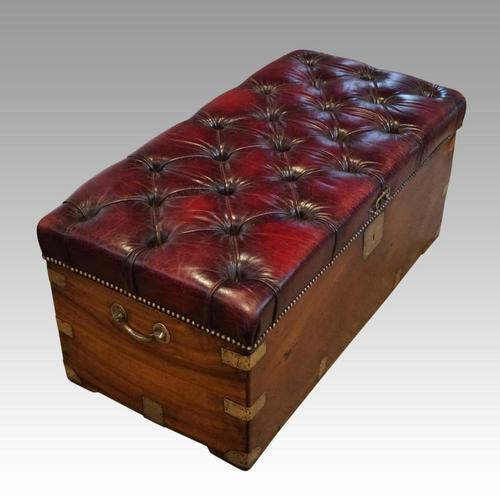 Victorian Leather Camphor Wood Ottoman (1 of 10)