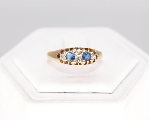 A 18ct Gold, 20 PTS Diamond & Sapphire Ring (1 of 7)