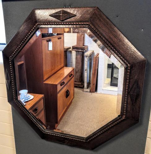 Early 20th Century Octagonal Oak Mirror (1 of 6)