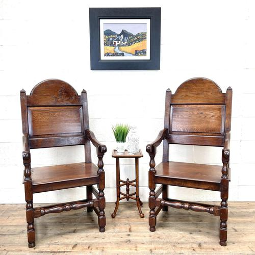 Pair of Antique Oak Throne Chairs (1 of 13)