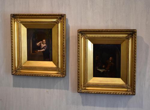 Pair of Oil Paintings after Gerrit Dou (1 of 9)