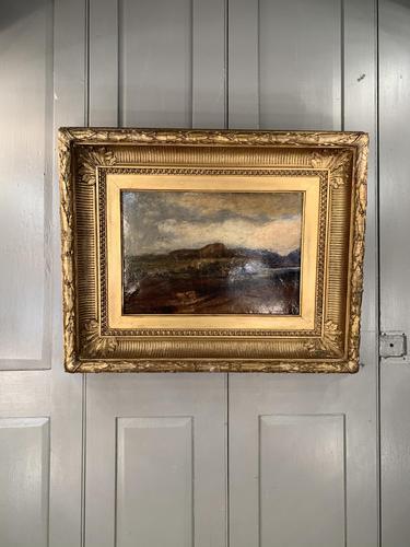 Antique Large Impressionist Landscape Oil Painting in Opulent Frame (1 of 10)