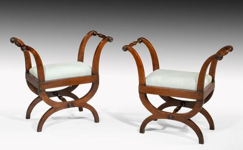 Pair of Early 19th Century Mahogany Framed Stools with Flared Uprights (1 of 6)