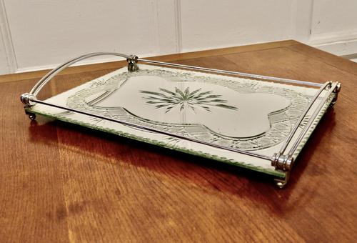Art Deco Silver Plated Cut Glass Mirror Tray (1 of 11)