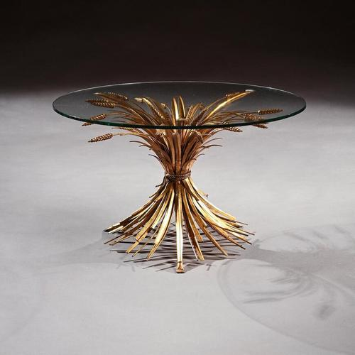 Mid 20th Century Gilt Metal Wheat Sheaf Table With Glass Top (1 of 7)