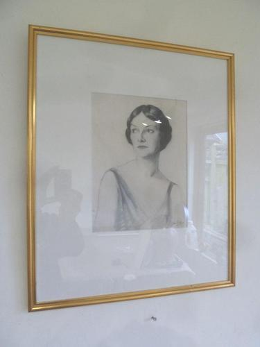 Olive Snell Mod Brit, Lithograph of Society Woman Portrait 1920's 4 of 4 Listed (1 of 4)