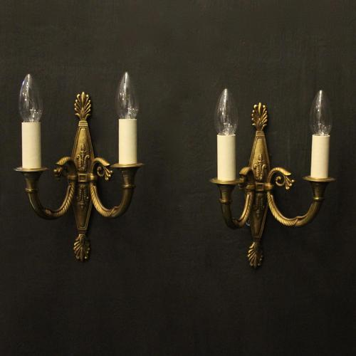 French Pair of Twin Arm Antique Wall Lights (1 of 10)