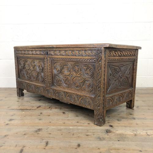Antique 17th Century Carved Oak Coffer (1 of 10)