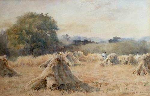 Wilmot Pilsbury Watercolour - Harvest at Dusk (1 of 2)