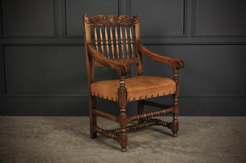 Solid Oak & Leather Armchair (1 of 8)