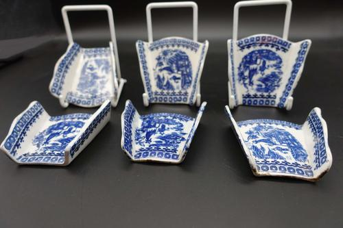 Rare Set of 6 Late 18th Century Blue & White Asparagus Rests (1 of 5)