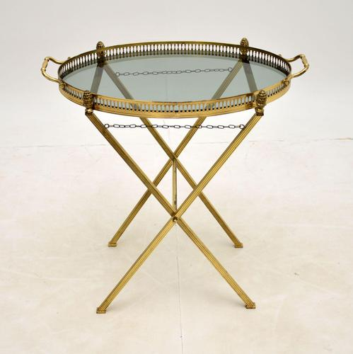 Vintage French Brass Folding Side Table (1 of 8)