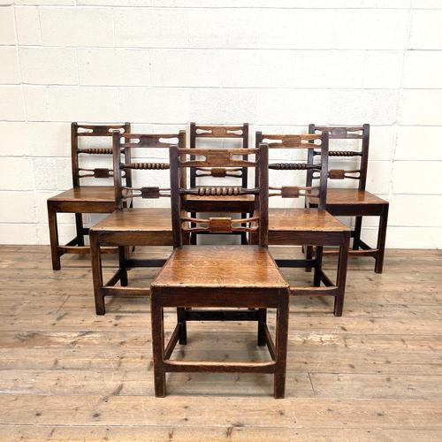 Set of Six Georgian Oak Country Chairs (1 of 10)