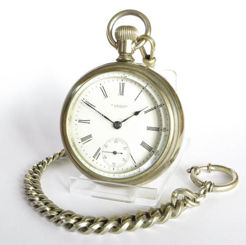 1903 Waltham Sterling Pocket Watch & Chain (1 of 5)