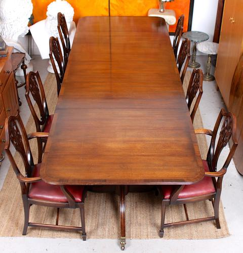 Dining Table & 8 Chairs Mahogany 3.2 Metres Long Hepplewhite Stalker (1 of 16)