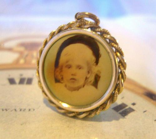Edwardian Pocket Watch Chain Photograph Fob 1900s Antique Gilt Sepia Fob (1 of 8)