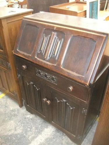 Carved Oak Linen-fold Bureau (1 of 3)