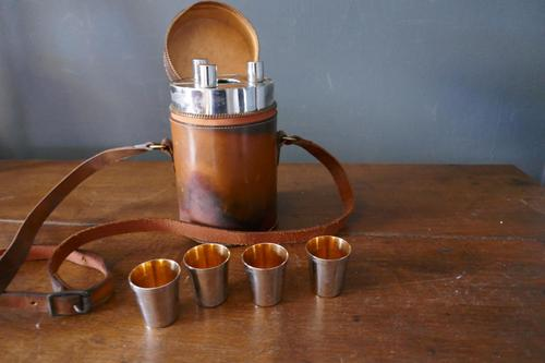 1920s Huntsman's Leather Drinking Flask Set (1 of 6)