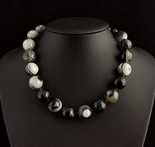 Antique Victorian Banded Agate Bead Necklace (1 of 13)