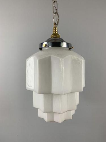 Large Art Deco Skyscraper Ceiling Light, Shade, Rewired (1 of 10)