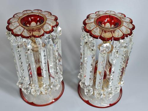 Magnificent Pair of Mid 19th Century Candle Lustres 'Possibly Baccarat' Gilded & Ruby Decoration (1 of 18)