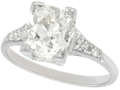 2.45 ct Diamond & Platinum Solitaire Ring c.1930 (1 of 9)
