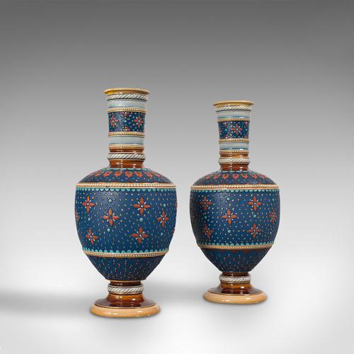 Pair of Antique Decorative Vases, German, Ceramic, Villeroy & Boch, Victorian (1 of 12)