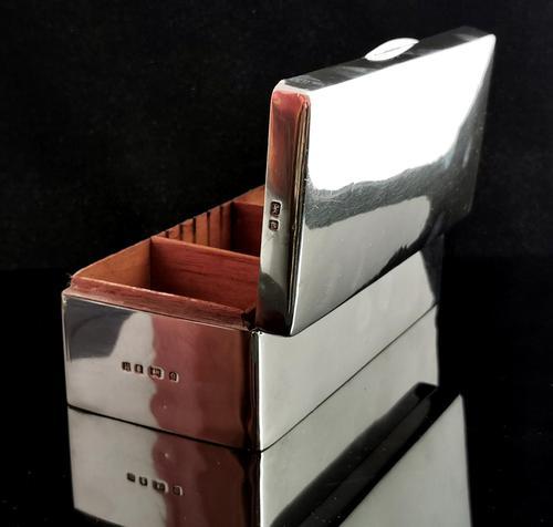 Antique Silver Cigarette Box, Heavy, Edwardian (1 of 13)
