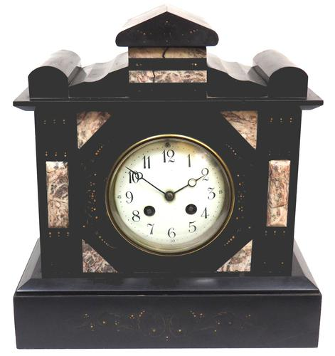 Antique French Slate Mantel Clock 8-Day Striking Mantle Clock c.1900 (1 of 5)